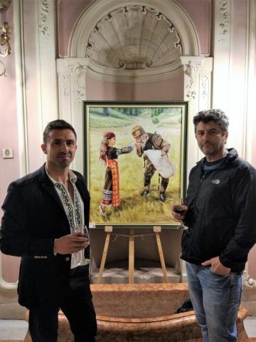 Картината дарение за Национален етнографски музей произведение на Юлия Бузилова вдъхновена от фотография на Асен Великов